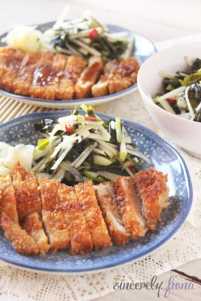 pork tonkatsu apple salad 04
