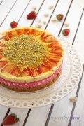 pistachio mango strawberry mousse cake