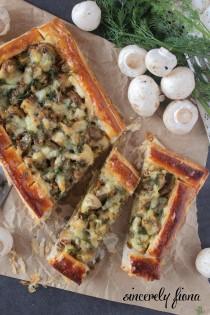 cheesy mushroom herb tart