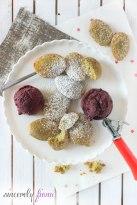 greentea mendelines with cherry sorbet