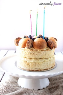 Durian Sponge cake with durian filled Profiteroles 01