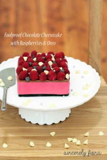 foolproof chocolate cheesecake with raspberry and oreo