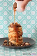 Chocolate chips peanut butter banana pancakes with salted caramel sauce
